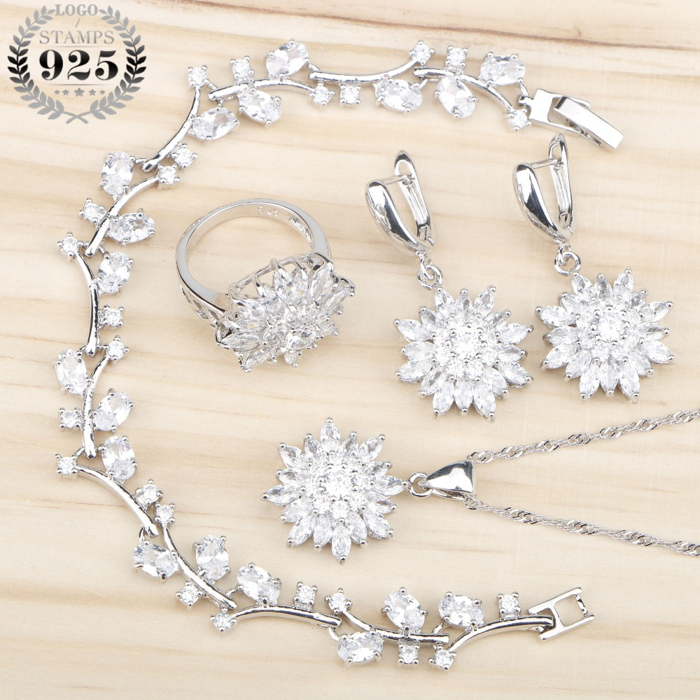 White Zircon 925 Silver Costume Jewelry Sets For Women Bridal Necklace Pendant Earrings Rings With Stones Bracelets Gift Box