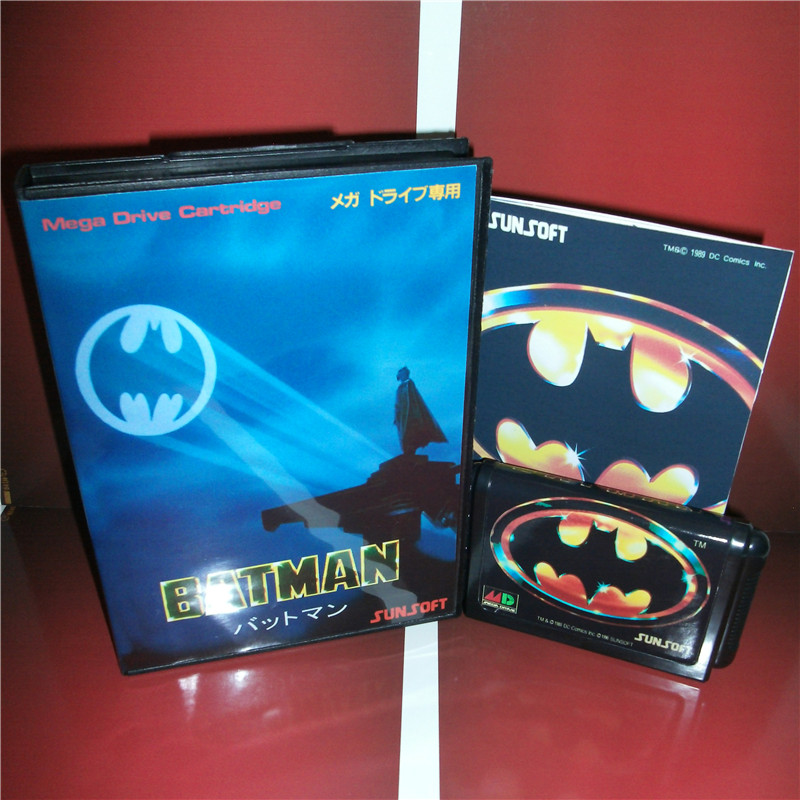 Batman Japan Cover with box and manual for Sega MegaDrive Genesis Video Game Console 16 bit MD card image