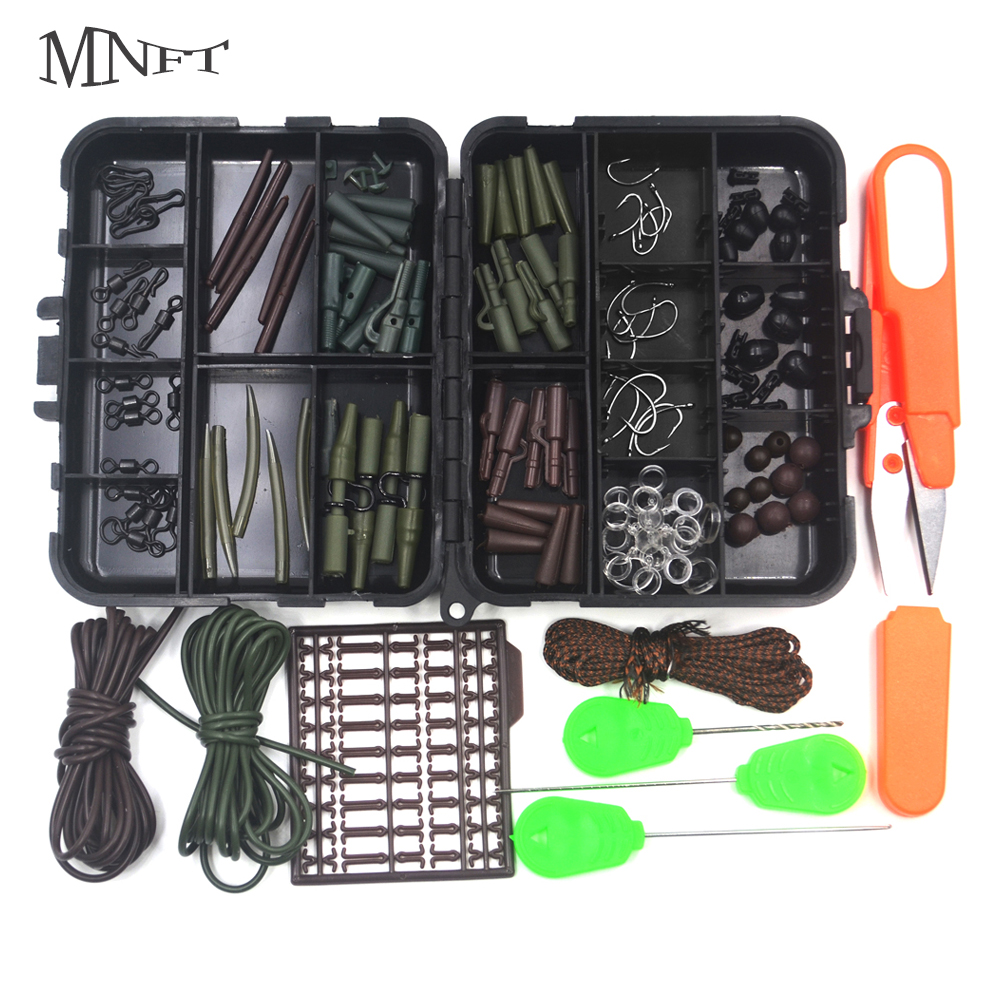 MNFT 1 Set Carpe De Pêche Accessoires Kit Crochet/Pivote/Ciseaux/Gréement/Anti-enchevêtrement Manches/bouillette Plates-Formes de Cheveux/Perles Terminal Tackle