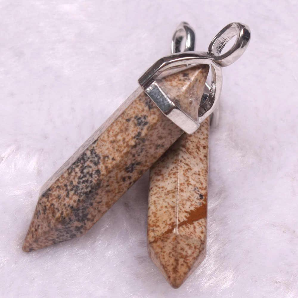 14 צבעים Bullet צורת בציר טבעי אבן תליון הצהרת קריסטל רן אבן קוורץ תליוני נשים תכשיטים