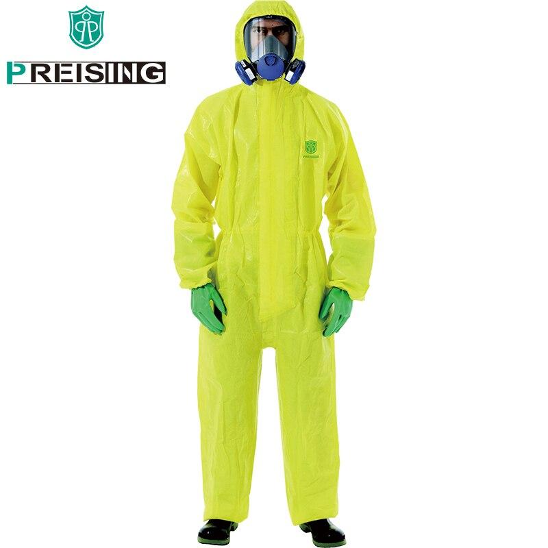 bilder für Gelb Arbeitskleidung Männer Atmungsaktive Wasserdichte Antistatische Chemische Sicherheit Kleidung Arbeiter Overall Sprühfarbe Schutzkleidung