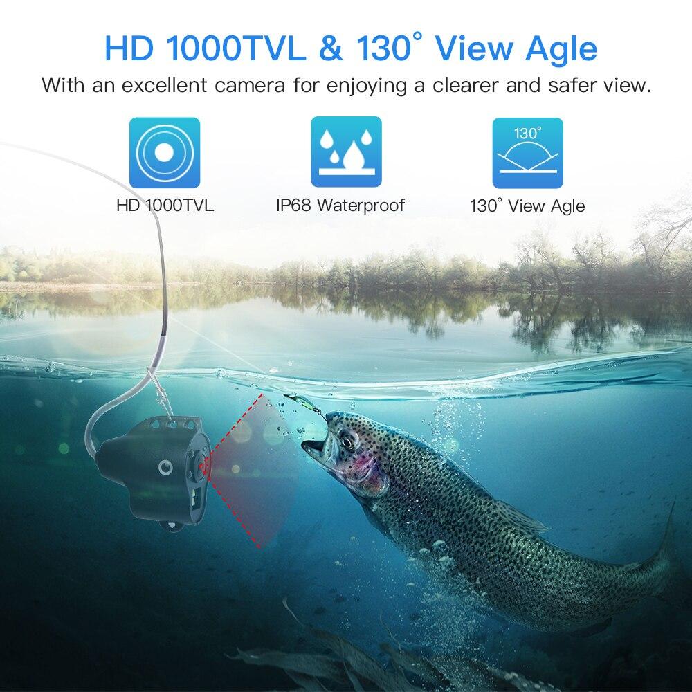 """Monitor Lcd 4.3/"""" 15M 1000TVL Fish Finder Infravermelho Led Visão Noturna Câmera subaquática"""