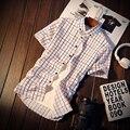 4 Стили М-5XL 2017 Новый Стиль С Коротким Рукавом Мужская Рубашки Одежда Мужская Социальной Случайный Клетчатую Рубашку Мужчины Бренд C100