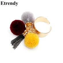 Colorful Plush Ball Tassel Rings For Women Bijoux Adjustable New Winter Fashion Jewelry Wholeslae Cute Gift