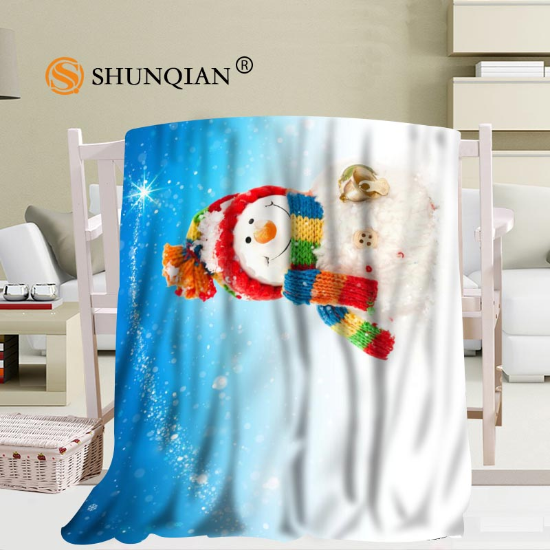 Custom Merry Christmas Snowman Blanket Soft DIY Your Picture Decoration Bedroom Size 58x80Inch,50X60Inch,40X50Inch A7.10