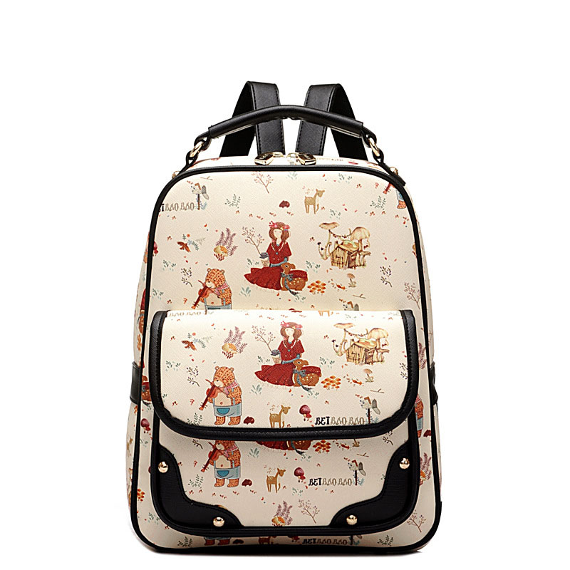 Brand  New Woman Backpack Hot Sale Floral Printing Girl's Student School Bag Teenagers pattern Leather  Girl Preppy Style Lady B  pleega new 2017 preppy style student leisure school bag teenagers girl canvas backpack boy school backpack big backpack notebook