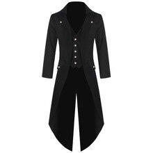 women Men's Tuxedo Coat vintage Tailcoat Jacket Gothic Long Sleeve Coat Solid Color Fashion Steampunk Tuxedo Men's Uniform Gown