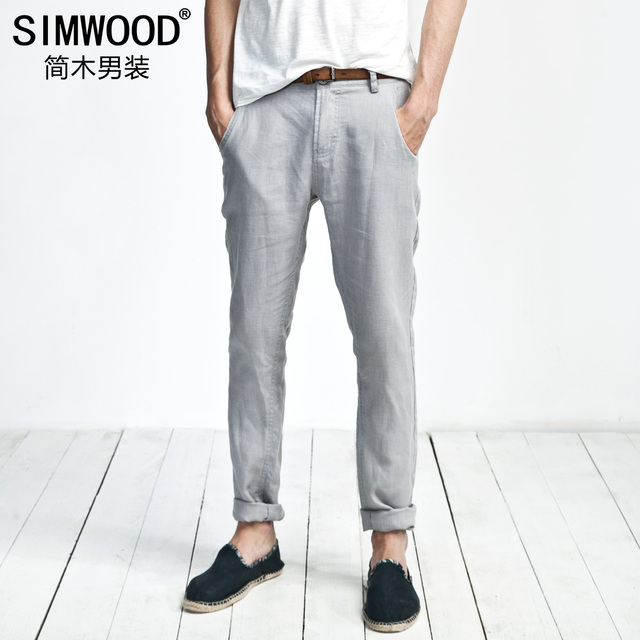 2ff25421fc Wood men's clothing summer thin fashion linen trousers male casual pants  slim skinny pants tide of male