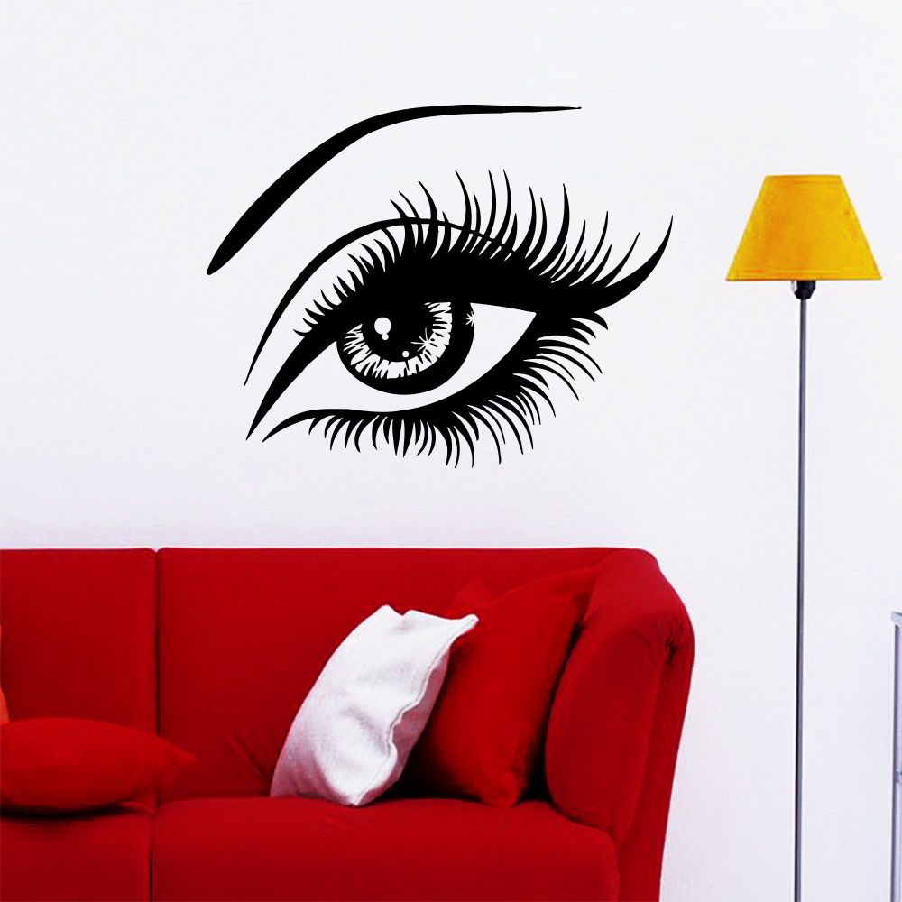 beauty eye black wall stickers fashion girl salon spa shop decor lady bedroom home decals pinturas. beautiful ideas. Home Design Ideas