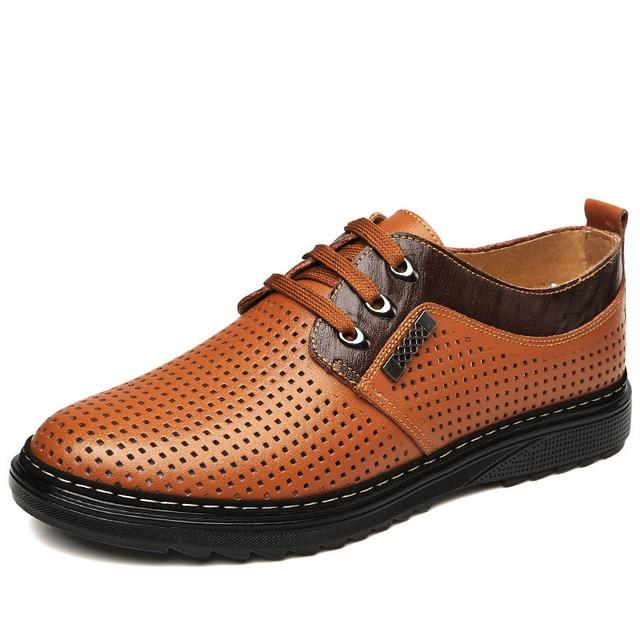 QIAONAI Imitation Leather Shoes for Men Summer 2016 Lace up Platform Shoes Cut Out Men's Flats Driving Moccasins