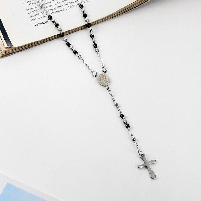 Фото ожерелье из нержавеющей стали с подвеской крестом овальный кулон