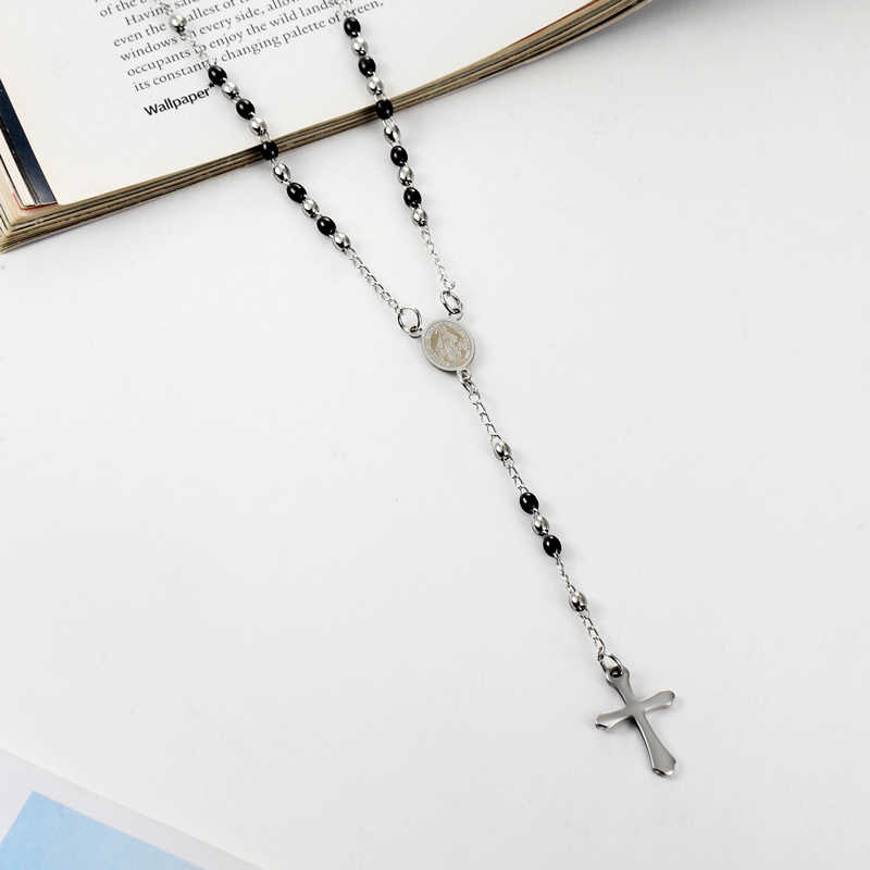3mm Oval Bead Rosary Cross Pendant Necklace Stainless Steel Jesus Center Christian Catholic Religion Jewelry