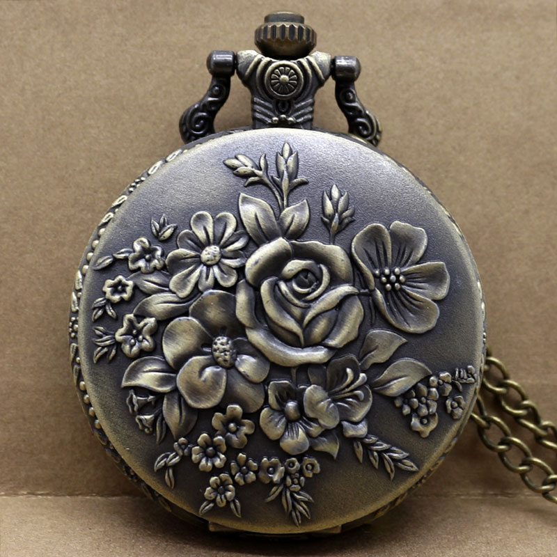 Retro Blooming Flowers Quartz Pocket Watch Bronze Pendant Clock Numerals Display Fob Necklace Watch For Women Lady With Chain