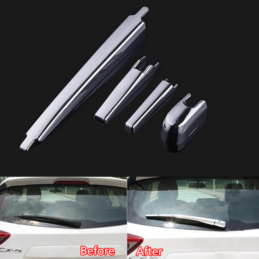 YAQUICKA Fit For <font><b>Mazda</b></font> CX-5 <font><b>CX5</b></font> <font><b>2015</b></font> Car Exterior Rear Back Trunk Window Rain Wiper Cover Trim Styling ABS <font><b>Accessories</b></font> image