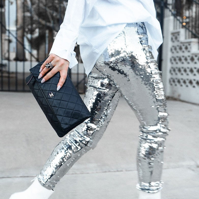 Fashion Nightclub Sequin Pencil <font><b>Pants</b></font> <font><b>2018</b></font> Solid Silver <font><b>Women</b></font> Bling Skinny Calf-length Trousers Party Leggings Female Streetwear image
