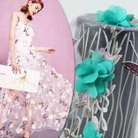 2017 Colorful Butterfly Printed Chiffon Fabric 3D Flowers Women Summer Dress Transparent Cloth DIY Curtain Patchwork Tissu