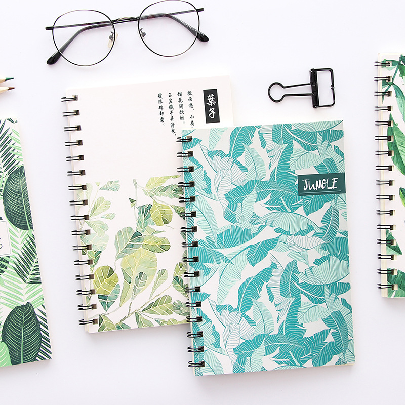 Coloffice Korean Creative Small Fresh Leave Series Stationery Notebook A5 Note Book Student School Office Supplies Random 1Piece