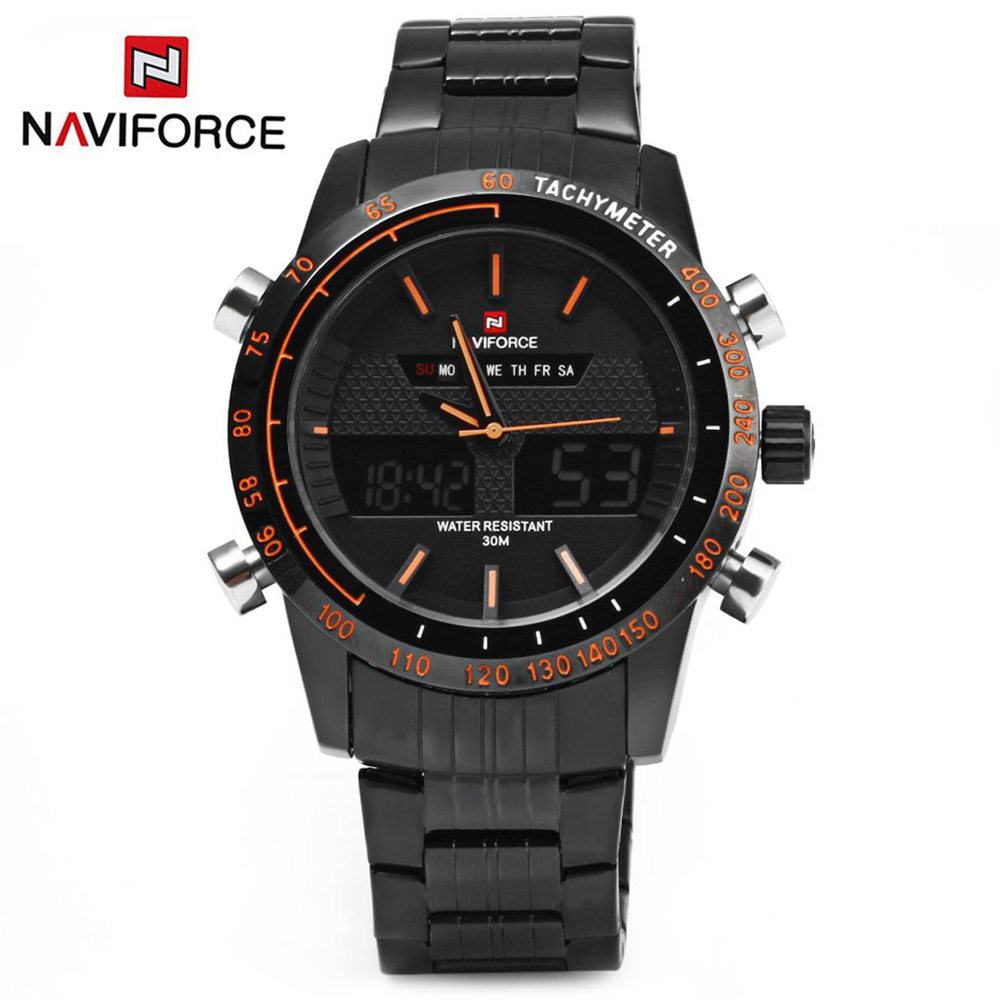 Watches Men NAVIFORCE 9024 luxury brand Full Steel Quartz Clock Digital LED Watches Army Military Sport Watch relogio masculino naviforce men s military sports watches men led digital watch waterproof full steel quartz watches man clock relogio masculino