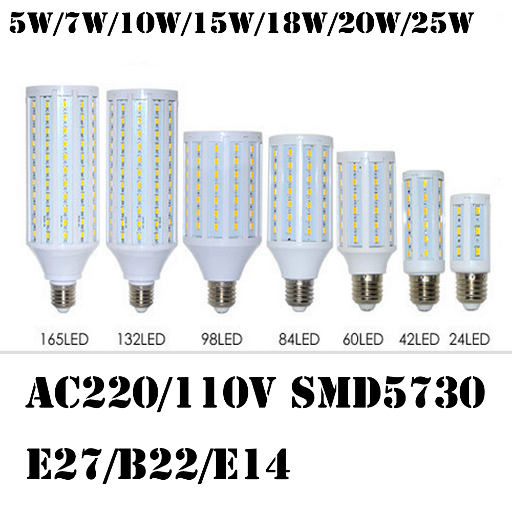 <font><b>LED</b></font> Corn Light <font><b>Bulbs</b></font> lights SMD5730 5W 10W 15W 18W 20W 25W E27/E14/B22 AC110V 220V white warm white image