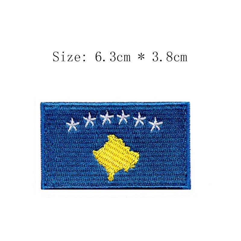 Kosovo broderie drapeau patch Pristina ville emblème pour moto manteau en gros fer sur coudre gauche poitrine chemises étoile et état