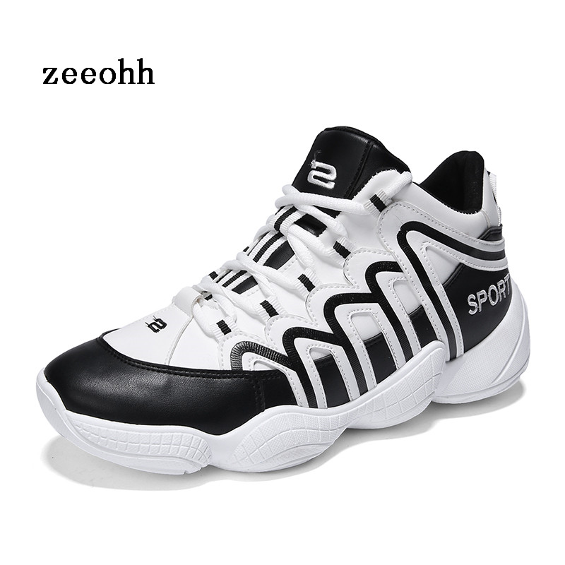 2018 High Top Men's Soft Soles Anti-skid Comfort Fit Foot Basketball Shoes PU Waterproof Sports Shoes Thick Soles Coconut Shoes