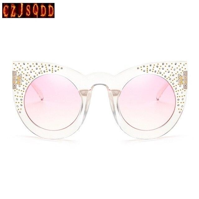 7daa48b9657c05 CZJSQDD F026 Fahioin Femmes lunettes de Soleil À La Main De Luxe  Transparence Rivet Cadres Couleur