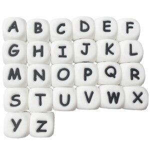 Image 4 - 100pcs teether סיליקון חרוזים צעצוע רוסית האלפבית חרוז 12MM אנגלית מכתב לעיסת חרוזים עבור בקיעת שיניים שרשרת מוצץ שרשרת
