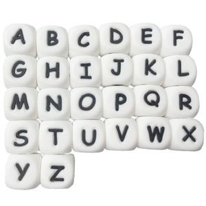 Image 4 - 100pcs teether Silicone Beads Toy Russian Alphabet Bead 12MM English Letter Chewing Beads For Teething Necklace Pacifier Chain