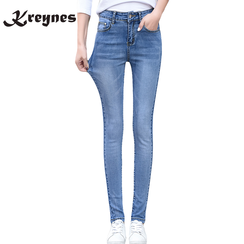 2017 New Fashion Women Pants, Plus Size Stretch Skinny High Waist Jeans Pants Women Blue Pencil Casual Slim denim Pantss rosicil new women jeans low waist stretch ankle length slim pencil pants fashion female jeans plus size jeans femme 2017 tsl049