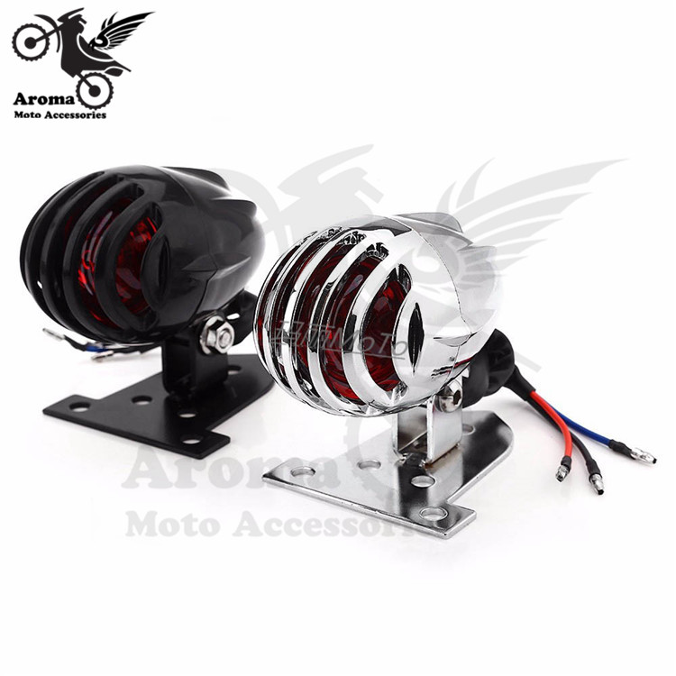 chrome silver black motorbike brake light chopper motorcycle tail light for harley prince cruise warning signal light moto parts