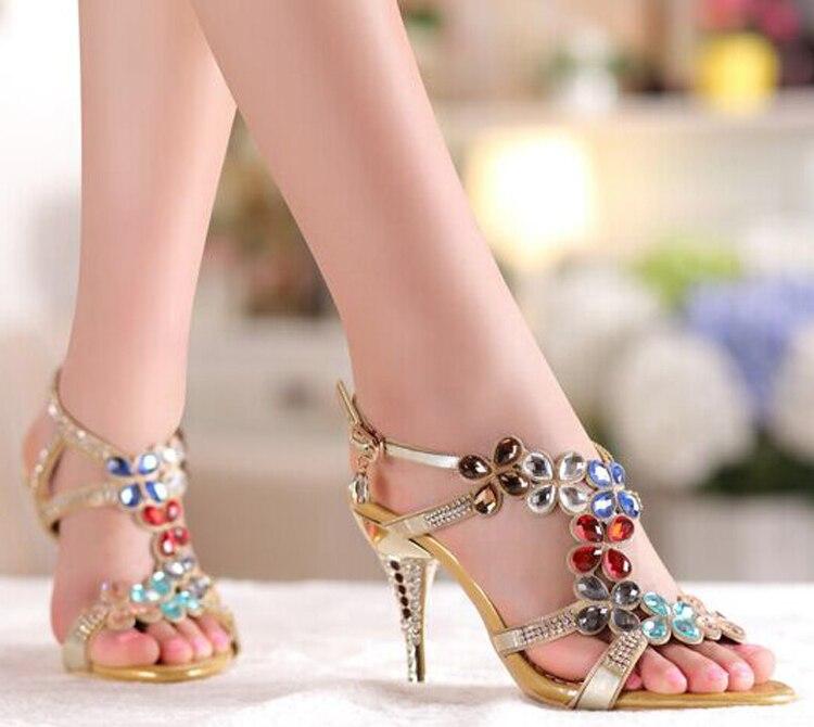 Elegant Shoes Bridal Wedding Dresses Shoe Beaded Rhinestone Open Toe Lady Bridesmaid Summer Cool  High Heel Sandals