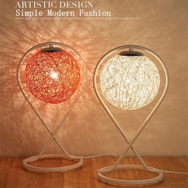 Nordic Modern Simple Hemp Rattan Ball Bedside Night Lamp Fashion ...