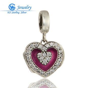 Colgante de corazón de plata 925 con cuentas abiertas, pulsera de cristal,...