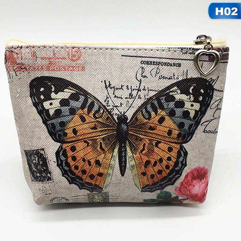 New Cute Butterfly Students Coin Purse Children PU Leather Zip Change Purse Women Wallet Animal Key Card Bag Kids