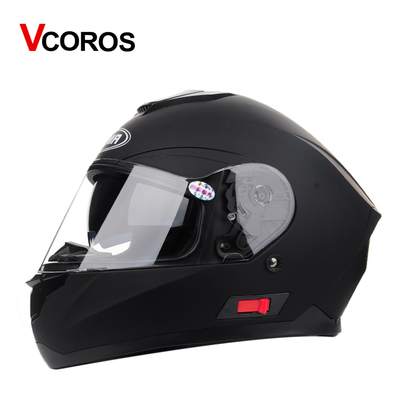 Vcoros man full face Motorcycle Helmet with inner sun lens visor DOT approved double glasses winter windproof helmets 2017 new yohe open face motorcycle helmet yh936 knight safety undrape face motorbike helmets made of abs and pc visor lens