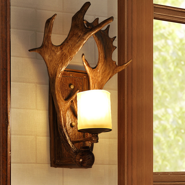 American Country Deer Antler Wall Lamps Vintage Past Lights Fixture Home Bedroom Bed Side Foyer Dining Room Cafes Lamp
