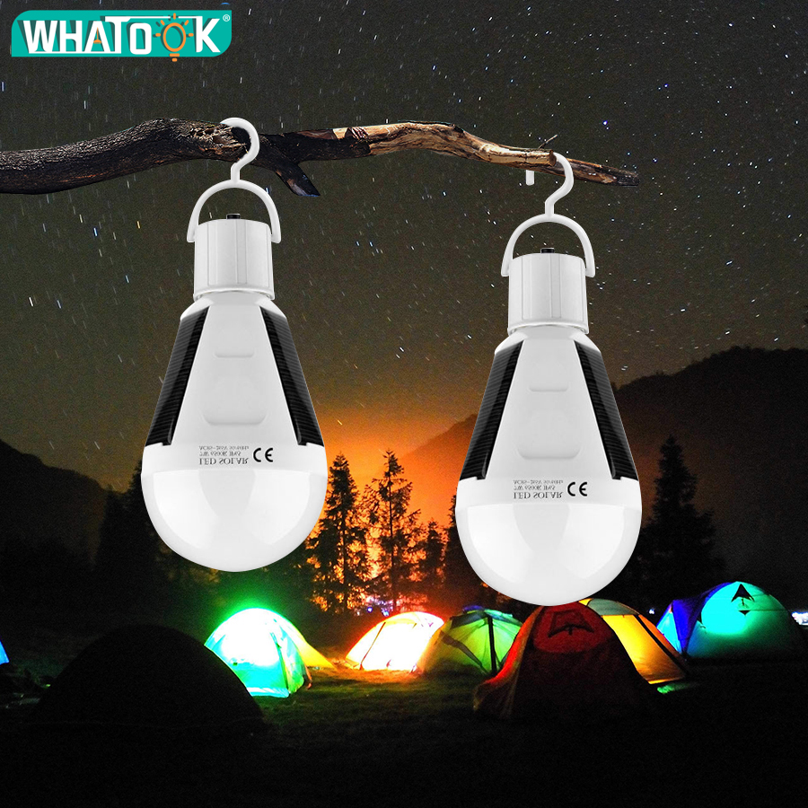 7W/12W LED Solar Power Bulb E27 Protable LED Solar Lights Rechargeable Lampada LED Waterproof Outdoor Camp Tent Garden Lights