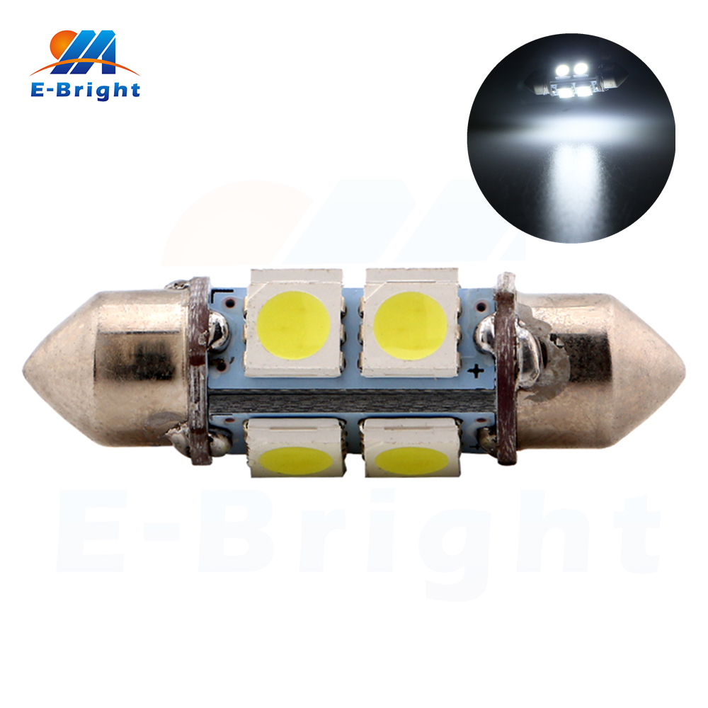 4-200pcs 36mm 12V 5050 8 SMD LED Festoon Lamp Auto Ceiling Bulbs Indicator Pate Number Reading Lights 8000K Free Shipping