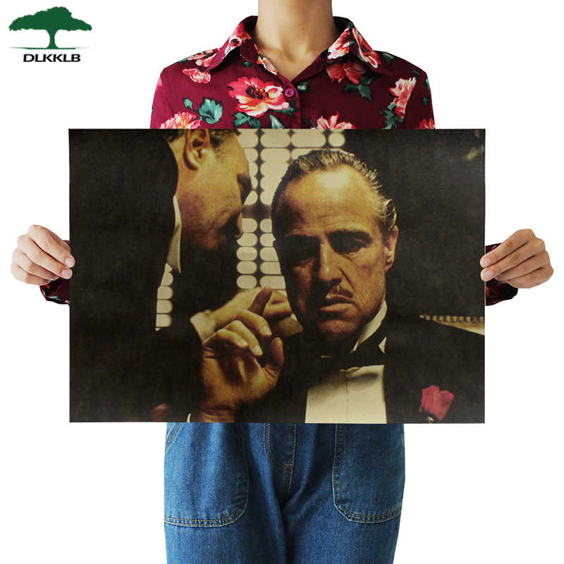 DLKKLB Godfather Classic Movie Poster Series Vintage Kraft Paper Poster Bar Cafe Home Decorative Painting Wall Sticker 50.5x35cm
