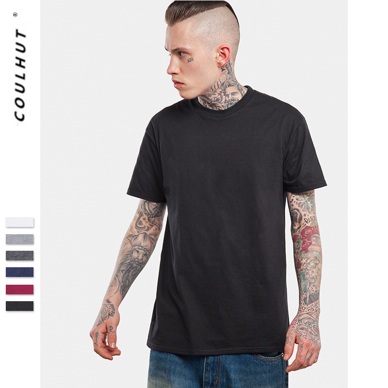 2019 SS Classic Pure Colour Cotton T Shirt XS-XXXL Fashion Men's Plain Short Sleeve Tee Skateboard Top Tees Simple All Match Tee