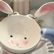 Outside the single export ceramic small rabbit bowl knife cute cute little rabbit small rabbit ice cream salad snacks