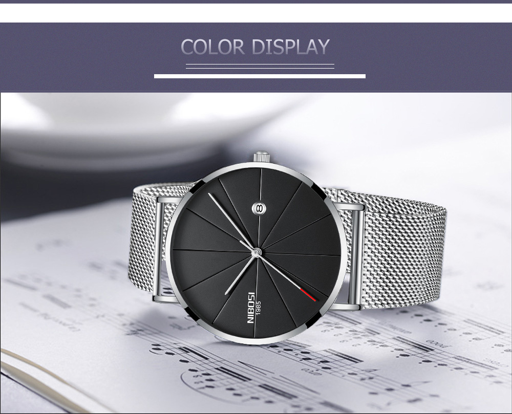 d2176fc3380dc ... NIBOSI watch men black quartz wristwatches stainless steel mesh brand  watches men ultra thin quartz relogio ...