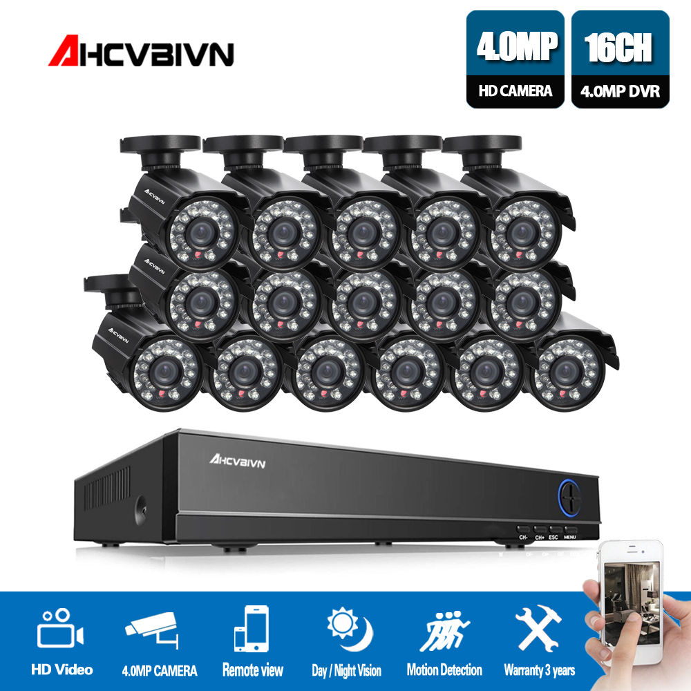 все цены на AHCVBIVN 16CH CCTV System 4MP HDMI Output Video Surveillance DVR Kit with 16PCS 4.0MP HD Home CCTV Security Camera System в интернете