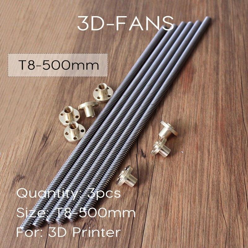 3pcs RepRap 3D Printer THSL-500-8D T-type stepper motor Lead Screw Dia 8MM Thread 8mm Length 500mm with Copper Nut Free Shipping
