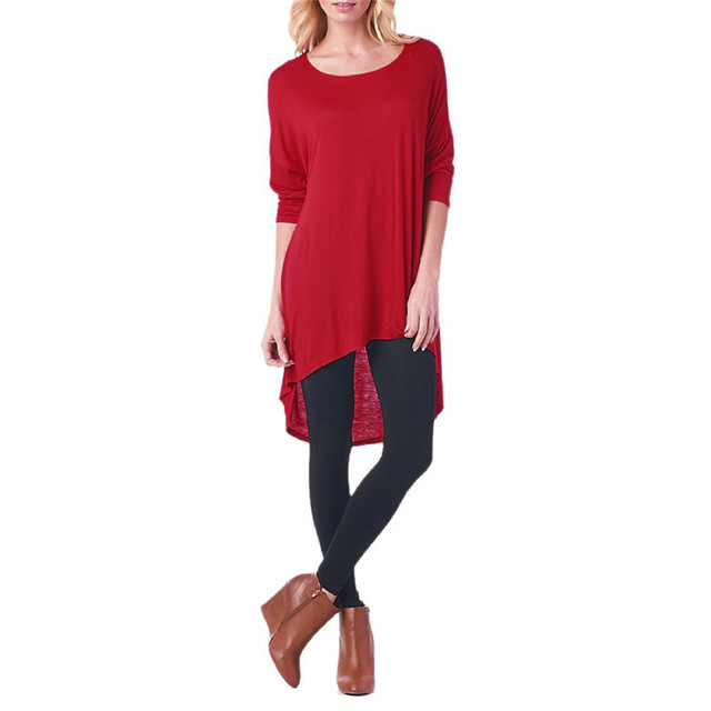 Good Quality Women Tops Fashion Irregular Stretch T Shirt Ladies Long Sleeves Casual Red T-Shirt O-Neck Loose