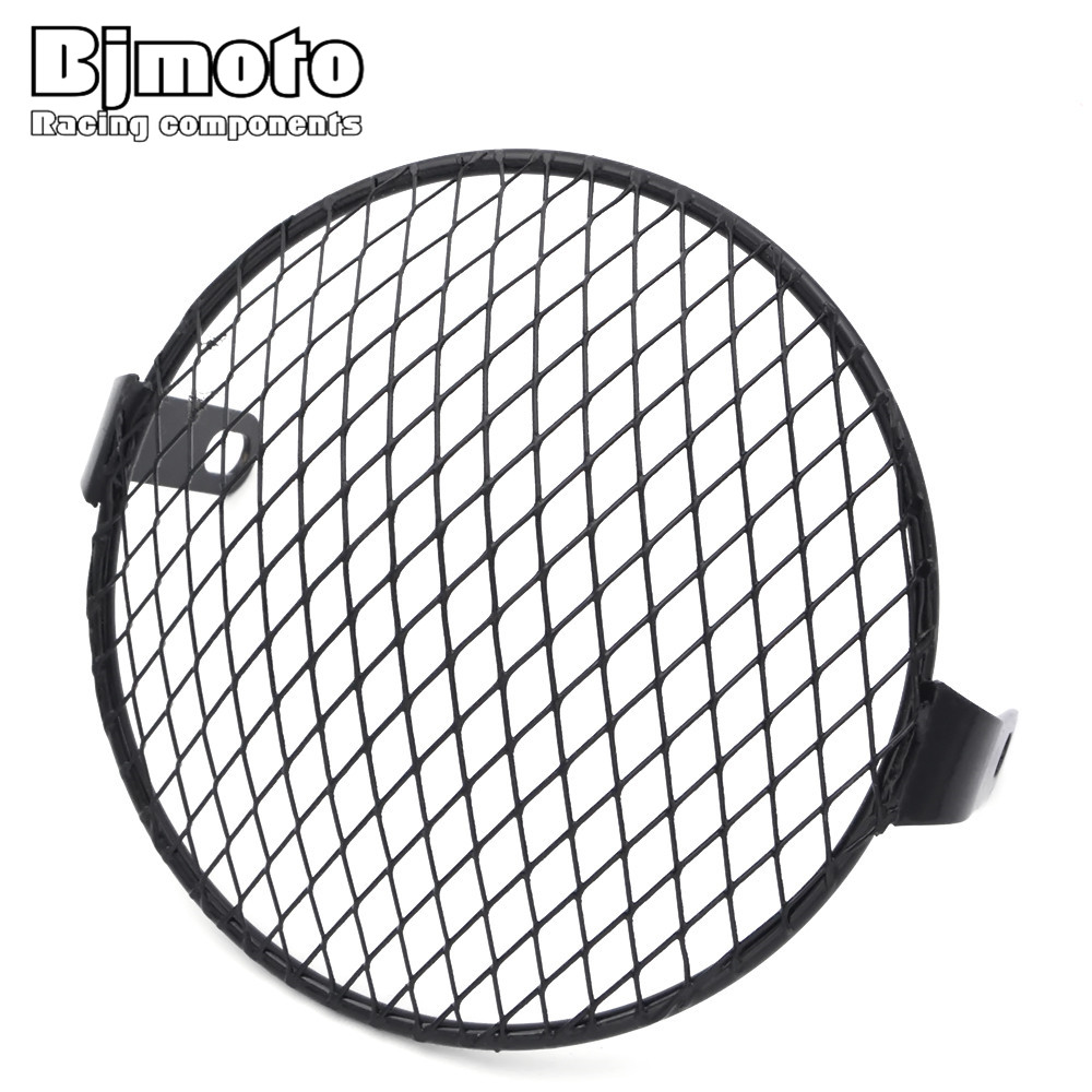 BJMOTO 6.5 Retro Motorcycle Grill Side Mount Headlight lamp Cover Mask Cafe Racer Motorcycle lamp protect Grill xuankun cafe racer generations of motorcycle off the rail scrambler right side cover frame cover
