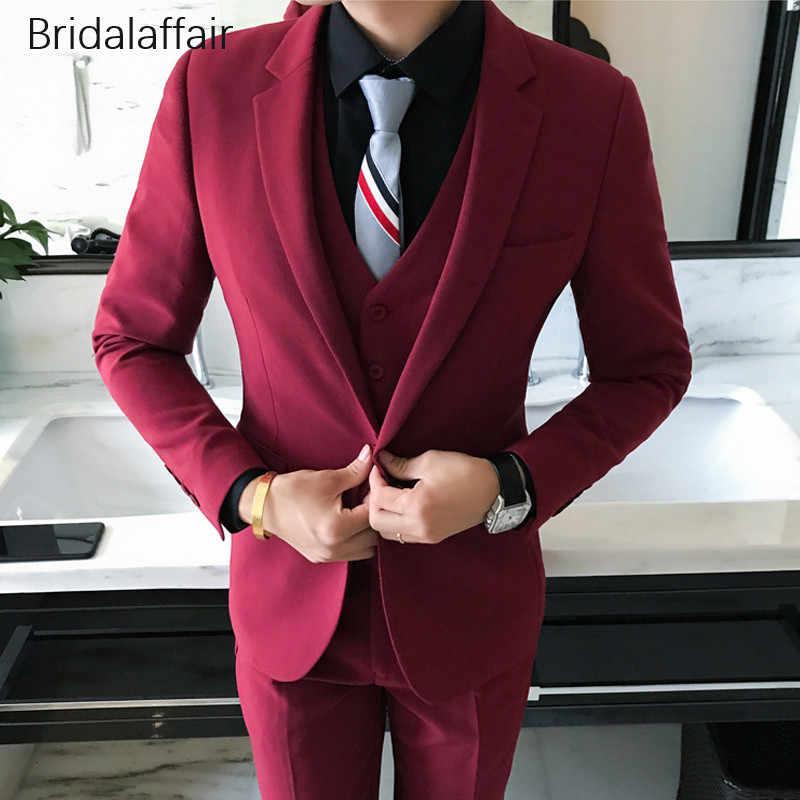 Замечательный Темно-синие мужской костюм 3 шт. формальный костюм Для мужчин s свадебные Жених Смокинги Slim Fit Для мужчин костюмы комплект (куртка + брюки + жилет)
