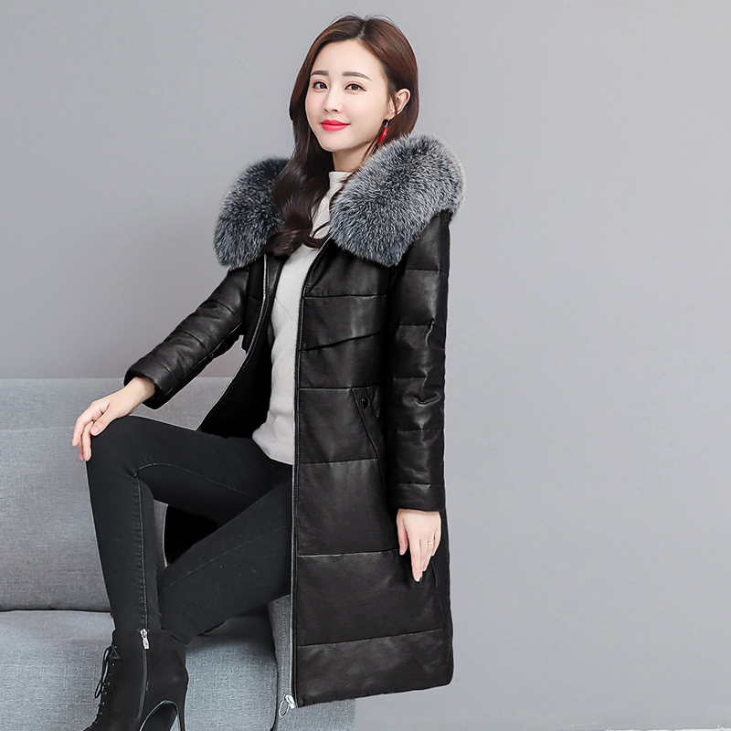 HANZANGL Sheepskin Down Coat 2018 Winter Women Fox Fur Hooded   Leather   Jacket Female Warm Thick Long Down Jacket