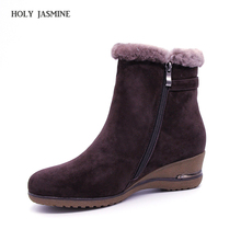 2018 winter new styles real fur Ankle boots thick outsole metal buckle brown women warm wool low heel Wedges snow shoes