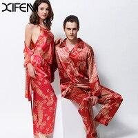 XIFENNI Miłośników Piżamy Emulacji Silk Piżama Piżama Ustawia Moda Red Satin Silk Piżamy Męskie Czteroczęściowy Nocne Damskie 3398